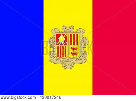 Flag Andorra Vector Illustration Symbol National Country Icon. Freedom Nation Flag Andorra Independe