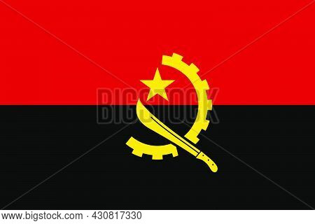 Flag Angola Vector Illustration Symbol National Country Icon. Freedom Nation Flag Angola Independenc