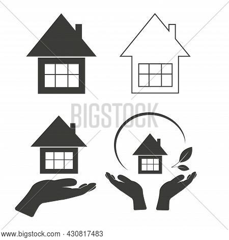 A Set Of Silhouettes Of House Icons And Hands Holding The House. Isolated On A White Background. Vec