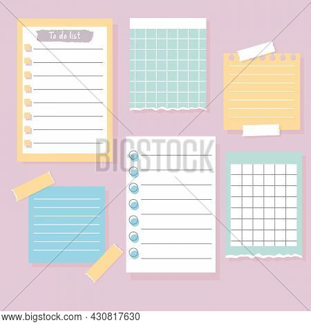Set Of Different Note Papers. Paper Notes On Stickers, To Do List And Memo Messages. Vector Illustra