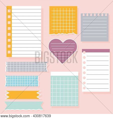 Set Of Different Note Papers. Paper Notes On Stickers, Notepads And Memo Messages. Vector Illustrati