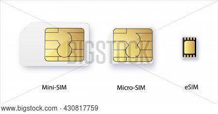 Sim Card. Smart Cellular Wireless Communication Gsm Chip, Electronics And Telecommunication Microchi