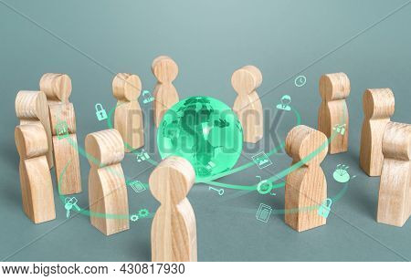 People Communicate Around The Globe. Social Gathering Concept. Negotiations Reaching Consensus. Disc