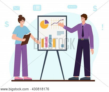 Business Man And Woman Next To Flipchart With Graph And Chart. People Present Marketing Data On Pres