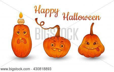 Happy Halloween Pumpkin Lantern Set Isolated On White. Cute Funny Glowing Monster Cartoon Characters