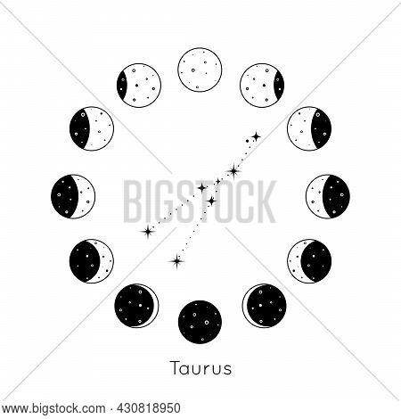 Taurus Zodiac Constellation Inside Circular Set Of Moon Phases. Black Outline Silhouette Of Stars. V