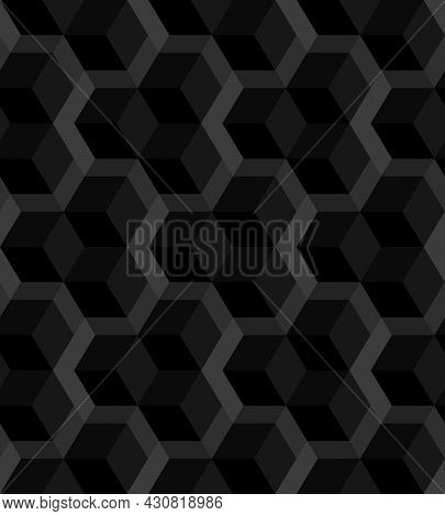 Abstract Background Seamless Geometric Pattern. Cube Shape, Diamond Shape. Black And Gray Color. Sur