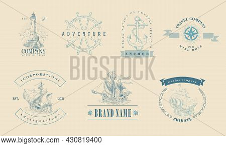 Marine-themed Insignia. Vintage Hand-drawn Sailboats, Sunken Ships, Map, Wind Rose, Anchor, Steering