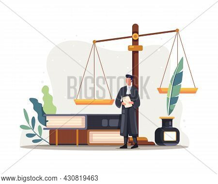 Lawyer Judge Character Illustration