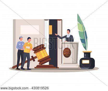 Court Trial Vector Illustration