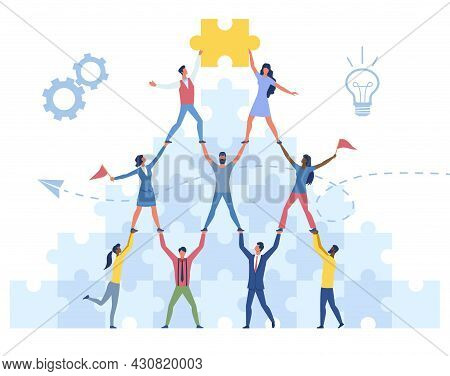 Male And Female Characters Are Standing Together To Form A Pyramid. Concept Of Teamwork Achievements