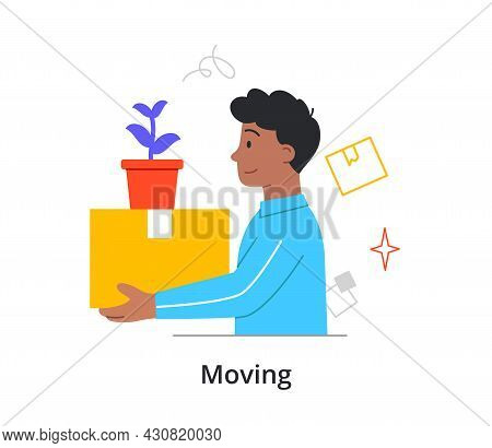 Cheerful Male Character Is Moving To A New Place On White Background. People Packing Up And Relocati