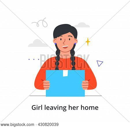 Young Happy Female Character Is Packing Up To Move To A New Place On White Background. Concept Of Pe