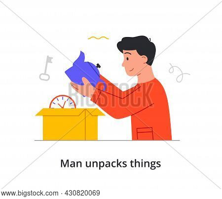 Young Smiling Male Character Is Unpacking All Of His Things After Moving To A New Place On White Bac