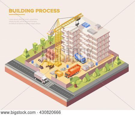 Building Construction Site In The City On Grey Background. Crane, Trucks, Workers, Excavator And Oth