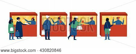 Winter Market With Buyers And Sellers Stalls On An Isolated Background. Illustration For Shopping Li