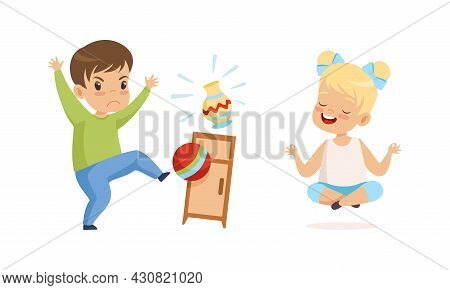 Naughty Boy Kicking Ball Breaking Vase And Obedient Little Girl Sitting In Lotus Yoga Pose Vector Se