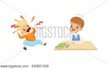 Naughty Angry Boy Shouting And Obedient Little Boy Sitting At School Desk Vector Set
