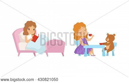 Obedient Girl With Good Breeding Playing With Teddy Bear And Reading Book In Bed Vector Set