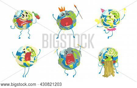 Funny Earth Planet In Various Actions Set, Globe Character Drinking, Fighting, Celebrating Holiday,
