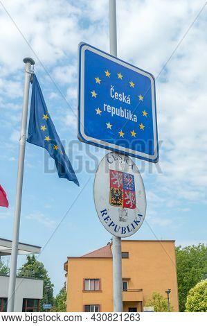 Cesky Tesin, Czech Republic - June 5, 2021: Czech Republic Territorial Sign And Coat Of Arms Of Czec