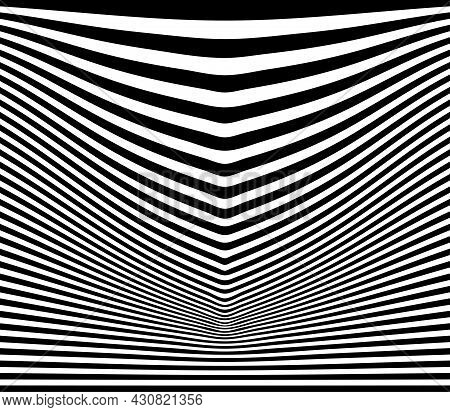 Horizontal Line Stripes Vector Background In Black And White Color With The Direction To The Bottom.
