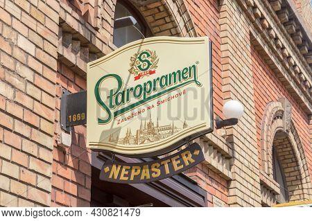 Cesky Tesin, Czech Republic - June 5, 2021: Staropramen Logo. Staropramen Brewery Is The Second Larg
