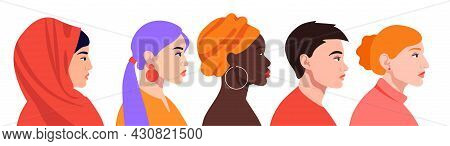 Set With Diverse Female Profiles With Different Ethnicity And Hairstyle On White Background. Concept