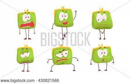 Cute Purse Showing Different Emotions Set, Green Funny Wallet Charaters With Funny Faces Cartoon Vec