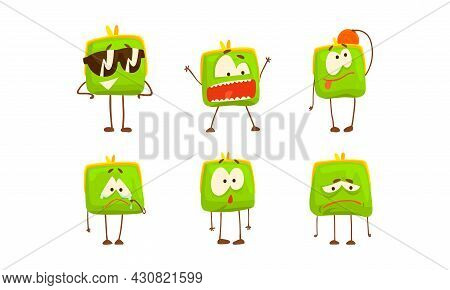 Cute Purse With Funny Faces Set, Green Funny Pouch Charaters With Different Emotions Cartoon Vector