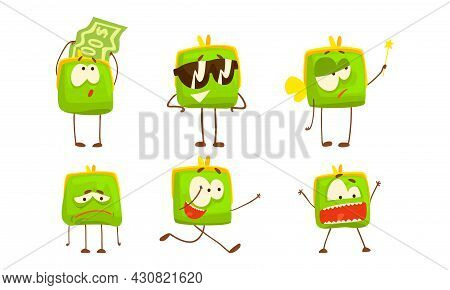 Green Purse With Funny Faces Set, Funny Pouch Emojis Cartoon Vector Illustration