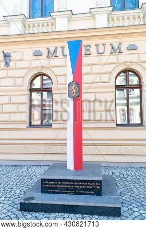 Cesky Tesin, Czech Republic - June 5, 2021: Monument Commemorating The Demarcation Of Poland And Cze