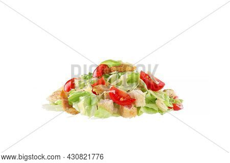 Caesar Salad On A White Background, Isolated. Fast Food