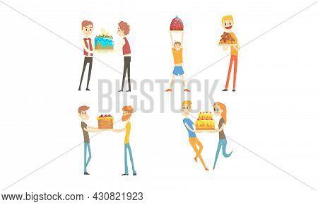 Happy People Holding Birthday Cakes Set, Friends Enjoying Party And Celebrating Holidays Cartoon Vec