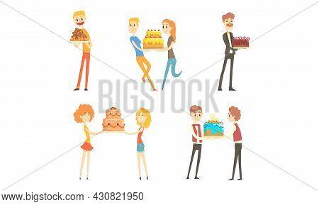Happy People Holding Cakes Set, People Enjoying Party And Celebrating Holidays Cartoon Vector Illust