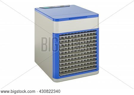 Portable Air Cooler, Mini Air Conditioner Fan With Usb. 3d Rendering Isolated On White Background