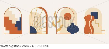 Cute Set With Modern Minimalist Abstract Aesthetic Arches On Grey Background. Bohemian Style Vintage