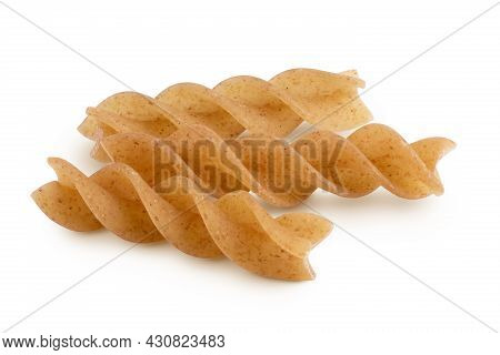 Wolegrain Fusilli Pasta From Durum Wheat Isolated On White Background With Clipping Path And Full De