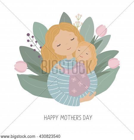 Happy Mothers Day. Mother And Daughter Embrace Among The Flowers.