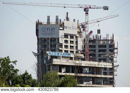 Bucharest, Romania - August 16, 2021: One Verdi Park, A Real Estate Complex Under Construction Belon