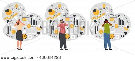 Set Of Male And Female Confused Characters In Business Mess And Information Data Chaos On White Back