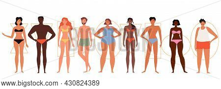 Set Of Male And Female Characters With Different Body Shapes On White Background. Concept Of Human F