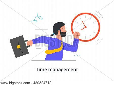Male Character Is Running With Briefcase To Be On Time On White Background. Concept Of Time Manageme