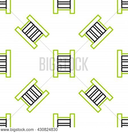 Line Wooden Staircase Icon Isolated Seamless Pattern On White Background. Vector Illustration