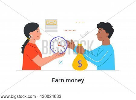 Young Male Character Is Exchanging Time For Money On White Background. Concept Of Earning Money, Wor