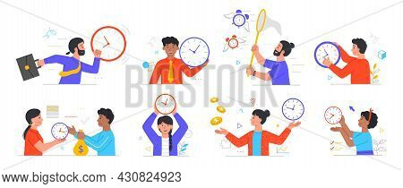 Set Of Male And Female Character Using Time For Different Activities On White Background. Concept Of