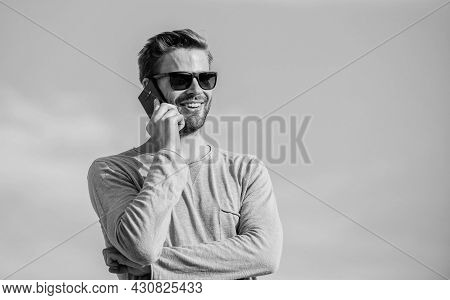Good News. Confident Man Speak On Phone. Call To Friend. Modern Technology In Life. Always In Touch.