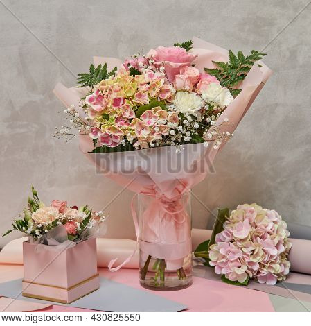 Fresh Bouquet Of Colorful Mixed Flowers. European Floral Shop Concept. Flowers Delivery