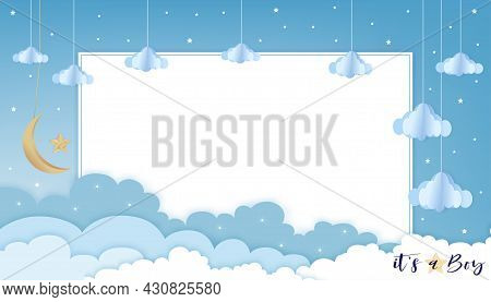 Baby Boy Shower Card On Blue Sky And Cloud Background,vector Cute Paper Art Origami Cloudscape, Cres