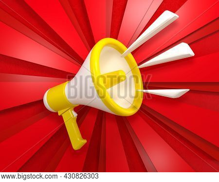 Bright Megaphone On A Three-dimensional Background. 3d Render
